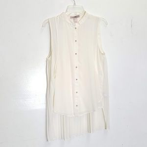 Love 21 ivory pleated blouse Small